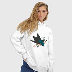 Толстовка оверсайз женская San Jose Sharks цвета белый — фото 2