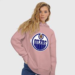 Толстовка оверсайз женская Edmonton Oilers цвета пыльно-розовый — фото 2