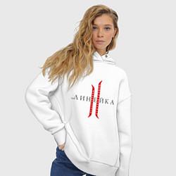 Толстовка оверсайз женская Линейка цвета белый — фото 2