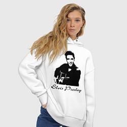 Толстовка оверсайз женская Elvis Presley цвета белый — фото 2