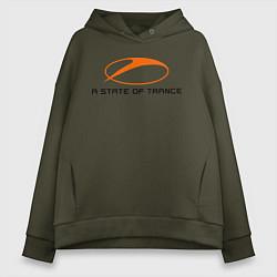 Толстовка оверсайз женская A State of Trance цвета хаки — фото 1