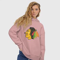 Толстовка оверсайз женская Chicago Blackhawks цвета пыльно-розовый — фото 2