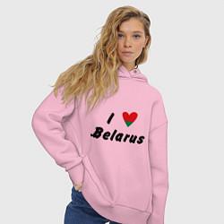 Толстовка оверсайз женская I love Belarus цвета светло-розовый — фото 2