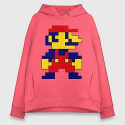Толстовка оверсайз женская Pixel Mario цвета коралловый — фото 1