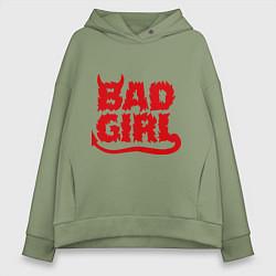 Толстовка оверсайз женская Bad Girl цвета авокадо — фото 1