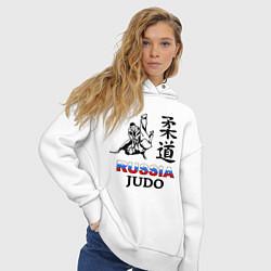 Толстовка оверсайз женская Russia Judo цвета белый — фото 2