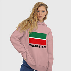 Толстовка оверсайз женская Флаг Татарстана цвета пыльно-розовый — фото 2