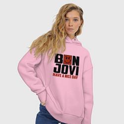 Толстовка оверсайз женская Bon Jovi: Nice day цвета светло-розовый — фото 2