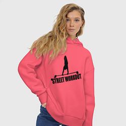 Толстовка оверсайз женская Street WorkOut цвета коралловый — фото 2