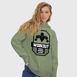 Толстовка оверсайз женская WorkOut Anytime цвета авокадо — фото 2