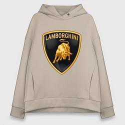 Толстовка оверсайз женская Lamborghini logo цвета миндальный — фото 1