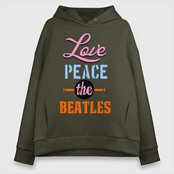 Толстовка оверсайз женская Love peace the Beatles цвета хаки — фото 1