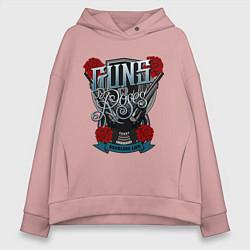 Толстовка оверсайз женская Guns n Roses: illustration цвета пыльно-розовый — фото 1