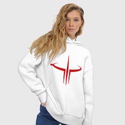 Толстовка оверсайз женская Quake logo цвета белый — фото 2