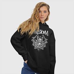 Толстовка оверсайз женская Alestorm: Pirate Bay цвета черный — фото 2