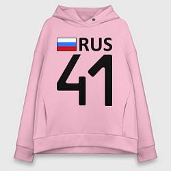 Толстовка оверсайз женская RUS 41 цвета светло-розовый — фото 1