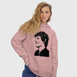 Толстовка оверсайз женская Эван Питерс цвета пыльно-розовый — фото 2