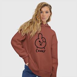 Толстовка оверсайз женская COOKY BTS цвета кирпичный — фото 2