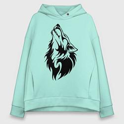 Толстовка оверсайз женская Воющий волк цвета мятный — фото 1
