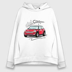 Толстовка оверсайз женская Mini Cooper цвета белый — фото 1
