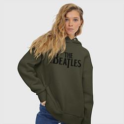 Толстовка оверсайз женская The Beatles цвета хаки — фото 2