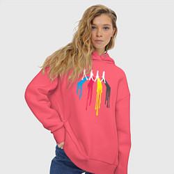 Толстовка оверсайз женская Abbey Road Colors цвета коралловый — фото 2
