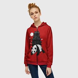 Толстовка на молнии женская Panda Warrior цвета 3D-красный — фото 2