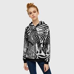 Толстовка на молнии женская Полосатая зебра цвета 3D-черный — фото 2