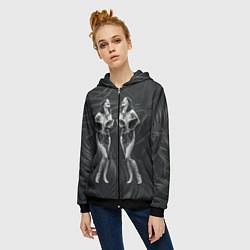 Толстовка на молнии женская Bjork цвета 3D-черный — фото 2