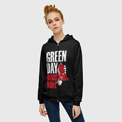 Толстовка на молнии женская Green Day: American Idiot цвета 3D-черный — фото 2
