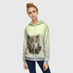 Толстовка на молнии женская Арт сова яркая цвета 3D-меланж — фото 2