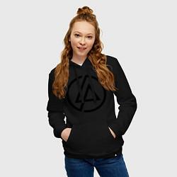 Толстовка-худи хлопковая женская Linkin Park: Sybmol цвета черный — фото 2