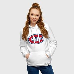 Толстовка-худи хлопковая женская Montreal Canadiens цвета белый — фото 2