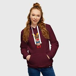 Толстовка-худи хлопковая женская Олень в шарфике цвета меланж-бордовый — фото 2