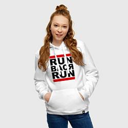 Толстовка-худи хлопковая женская Run Вася Run цвета белый — фото 2