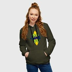Толстовка-худи хлопковая женская The Sims цвета хаки — фото 2