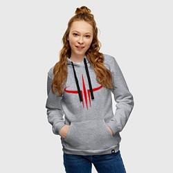 Толстовка-худи хлопковая женская Quake logo цвета меланж — фото 2