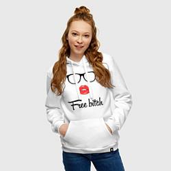 Толстовка-худи хлопковая женская Free bitch цвета белый — фото 2