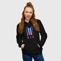 Толстовка-худи хлопковая женская BTS: Neon V цвета черный — фото 2