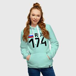Толстовка-худи хлопковая женская RUS 174 цвета мятный — фото 2