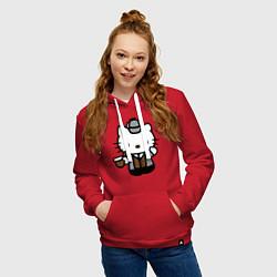 Толстовка-худи хлопковая женская Kitty Holmes цвета красный — фото 2