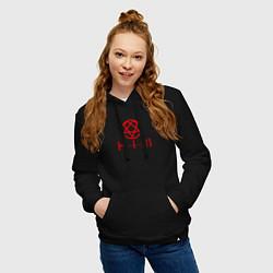 Толстовка-худи хлопковая женская HIM LOGO RED цвета черный — фото 2