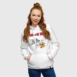 Толстовка-худи хлопковая женская Tom & Jerry цвета белый — фото 2