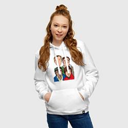 Толстовка-худи хлопковая женская The Big Bang Theory Guys цвета белый — фото 2