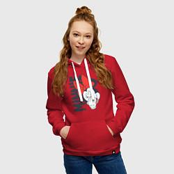 Толстовка-худи хлопковая женская Минни цвета красный — фото 2