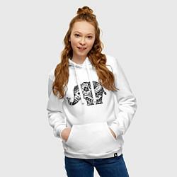 Толстовка-худи хлопковая женская Слоник узор цвета белый — фото 2