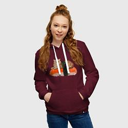 Толстовка-худи хлопковая женская Котосуши цвета меланж-бордовый — фото 2