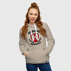 Толстовка-худи хлопковая женская Harvard University цвета миндальный — фото 2