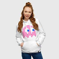 Толстовка-худи хлопковая женская Pac-Man: Pinky цвета белый — фото 2