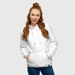 Толстовка-худи хлопковая женская Математика цвета белый — фото 2